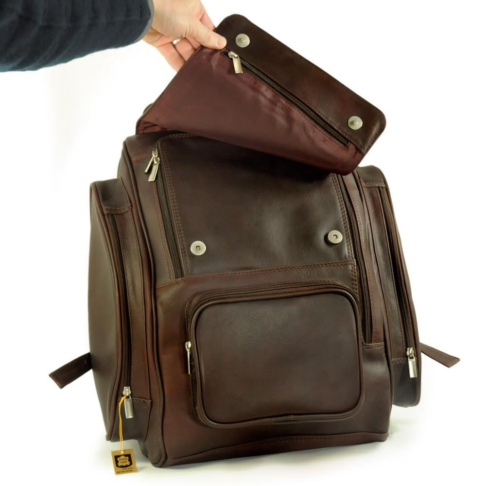 Großer Rucksack / Laptop-Rucksack 709, Leder, Braun