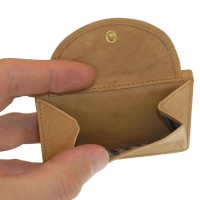 Branco – Small wallet / coin purse size XS, made out of leather, natural beige, model 105