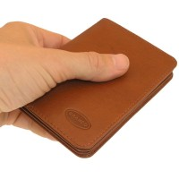 Branco - A7 Leather Credit Card Wallet with view window, Brown, Model 302