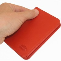 Branco - A7 Leather Credit Card Wallet with view window, Red, Model 302