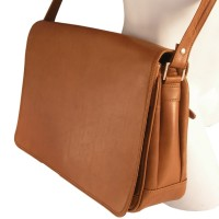 Branco – Women's handbag size M / shoulder bag made out of real leather, cognac brown, model 5584