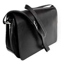 Branco – Women's handbag size M / shoulder bag made out of real leather, black, model 5584