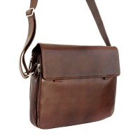 Branco – Elegant laptop shoulder bag size L / notebook bag made out of leather, up to 15.6 inches, brown, model br170