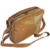 Branco – Elegant laptop shoulder bag size L / notebook bag made out of leather, up to 15.6 inches, cognac brown, model br170