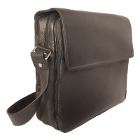 Branco – Elegant laptop shoulder bag size L / notebook bag made out of leather, up to 15.6 inches, black, model br170