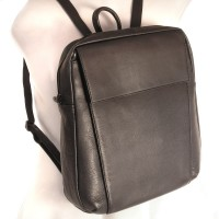 Branco – Elegant leather backpack size M / laptop backpack up to 14 inches, black, model br171