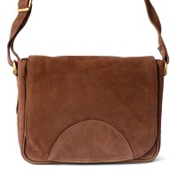 Hamosons – Small women's handbag size XS / retro style shoulder bag made out of buffalo leather, brown, model 575