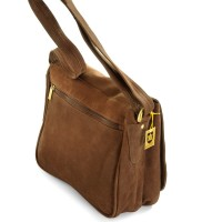 Hamosons – Women's handbag size M / retro style shoulder bag made out of buffalo leather, brown, model 577