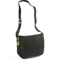 Hamosons – Women's handbag size M / retro style shoulder bag made out of buffalo leather, black, model 577