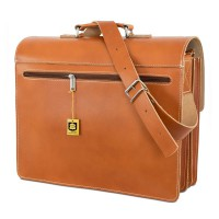 Hamosons – Large briefcase / teacher bag size XL made out of leather, cognac brown, model 690