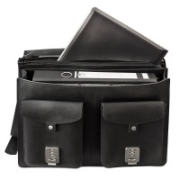Hamosons – Large briefcase / teacher bag size XL made out of leather, black, model 690