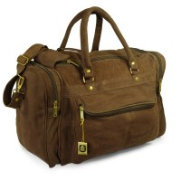 Hamosons – Medium sized travel bag / weekend bag size M made out of buffalo leather, brown, model 696
