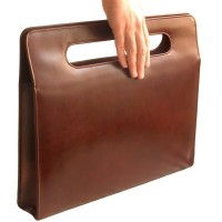 Hamosons – Elegant luxury briefcase / handbag for women, made out of real leather, chestnut brown, model 766