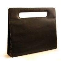 Hamosons – Elegant luxury briefcase / handbag for women, made out of real leather, black, model 766