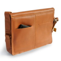 Jahn-Tasche – Elegant laptop shoulder bag size M / notebook bag made out of leather, up to 15 inches, Cognac Brown, model 448
