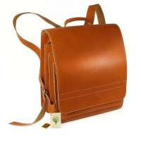 Jahn-Tasche – Very Large leather backpack / teacher backpack size XL made out of leather, cognac brown, model 670