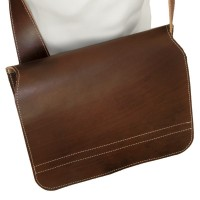 Jahn-Tasche – Shoulder bag size M / messenger bag made out of real leather, brown, model 680