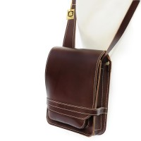 Jahn-Tasche – Small men's handbag size S / shoulder bag made out of real leather, A5 upright format, brown, model 684