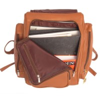 Jahn-Tasche – Very Large leather backpack size XL / laptop backpack up to 15.6 inches, cognac brown, model 709