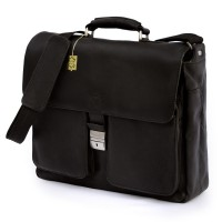 Jahn-Tasche – Elegant laptop shoulder bag size L / notebook bag up to 15.6 inches, made out of nappa leather, black, model 750