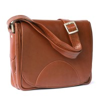 Hamosons – Small women's handbag size XS / retro style shoulder bag made out of oiled leather, chestnut brown, model 575