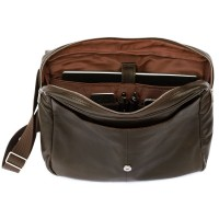 Jahn-Tasche – Elegant laptop shoulder bag size M / notebook bag up to 14 inches, made out of nappa leather, brown, model 438