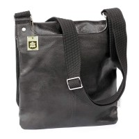 Jahn-Tasche – Shoulder bag size M / handbag made out of Nappa leather with padded compartment for tablets, black, model 428