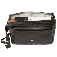 Jahn-Tasche – Elegant laptop shoulder bag size M / notebook bag up to 14 inches, made out of nappa leather, black, model 438