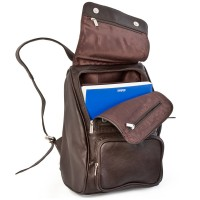 Jahn-Tasche – Medium sized leather backpack size M / laptop backpack up to 14 inches, brown, model 710