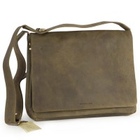 Harolds – Medium-Sized Leather Shoulderbag / Handbag, Khaki Green, Modell 310403