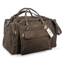 Hamosons – Large travel bag / weekend bag size L made out of buffalo leather, dark brown, model 695