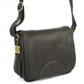 Hamosons – Women's handbag size M / retro style shoulder bag made out of Nappa leather, black, model 577