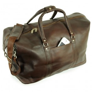 Jahn-Tasche – Large travel bag / weekend bag size L made out of nappa leather, brown, model 697