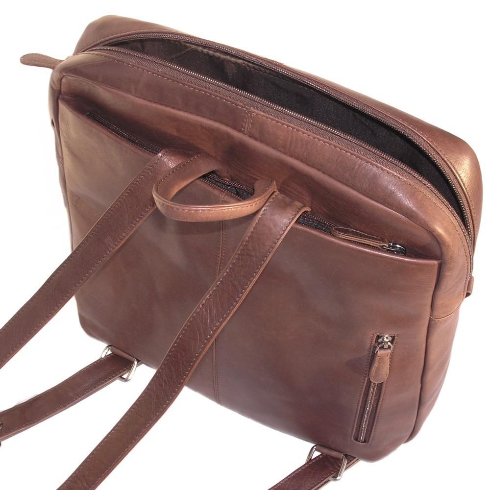 eleganter laptop rucksack branco br171 leder braun. Black Bedroom Furniture Sets. Home Design Ideas