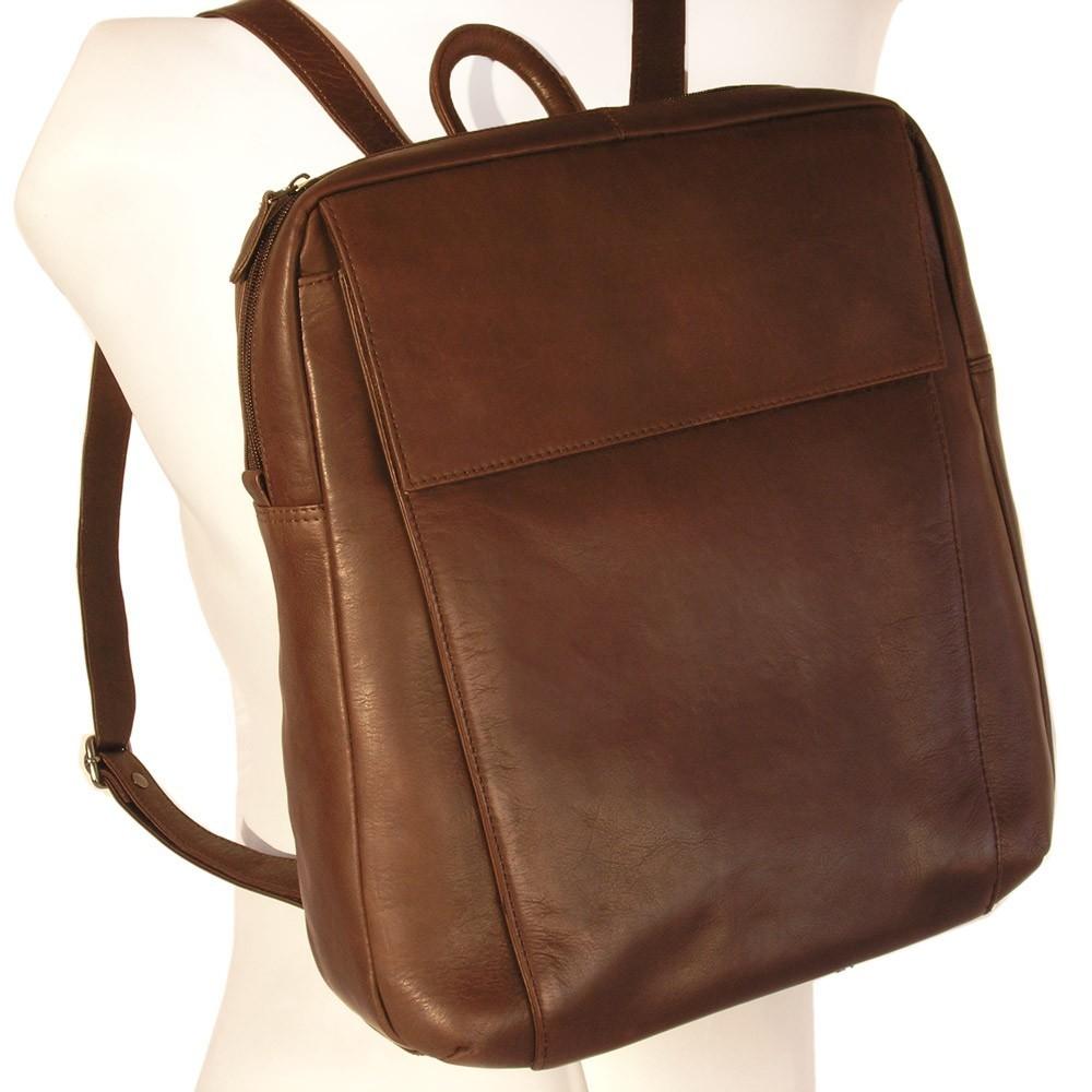 Eleganter Lederrucksack / Laptop Rucksack bis 14 Zoll, Braun, Modell br171