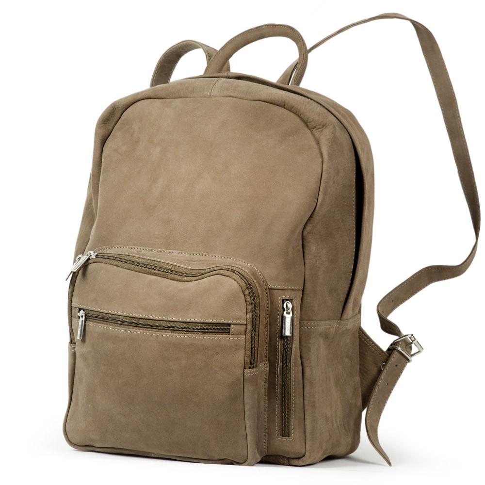 Großer Lederrucksack / Laptop Rucksack bis 15,6 Zoll, aus Büffel-Leder, Beige-Braun, Modell 513