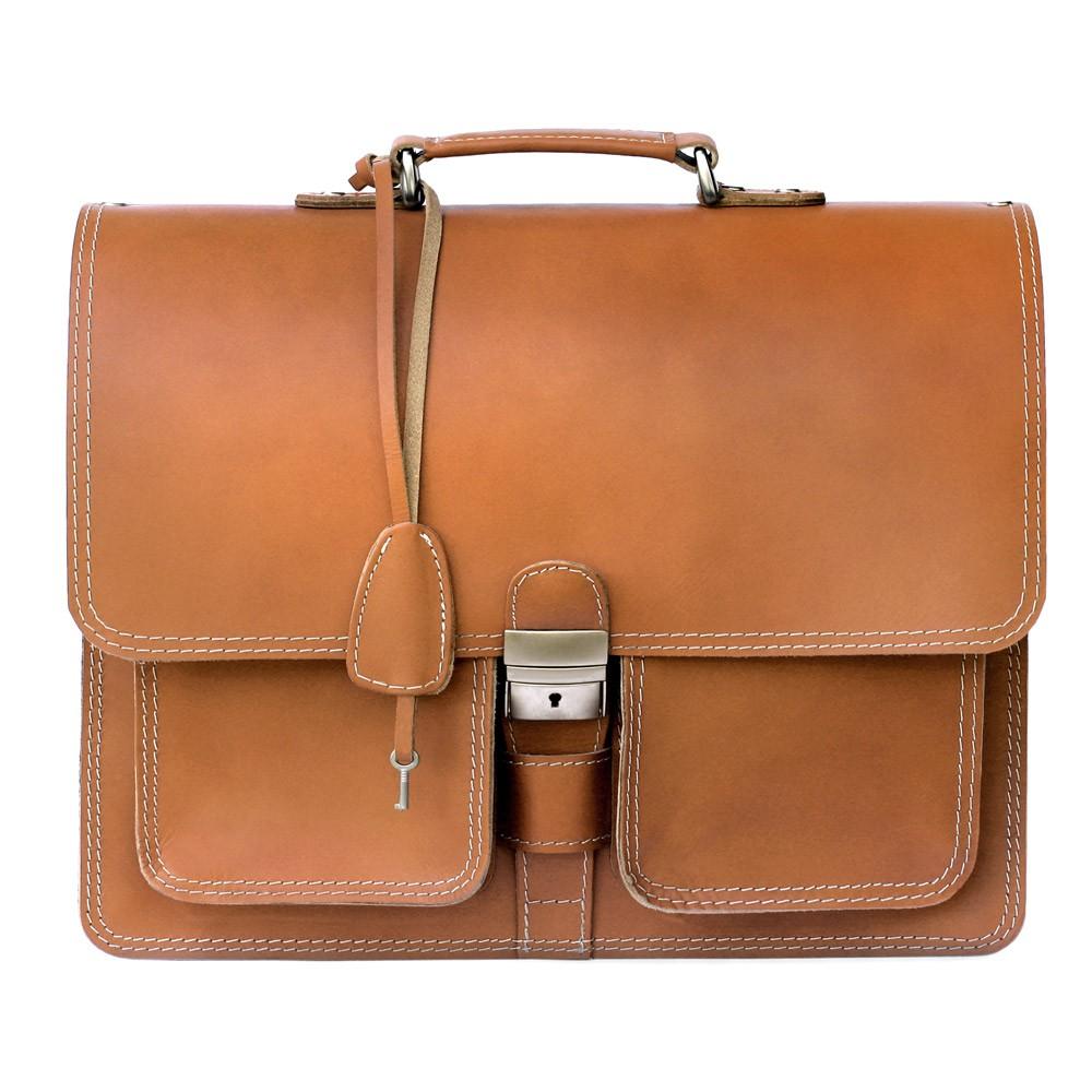 klassische aktentasche lehrertasche 651 leder cognac. Black Bedroom Furniture Sets. Home Design Ideas