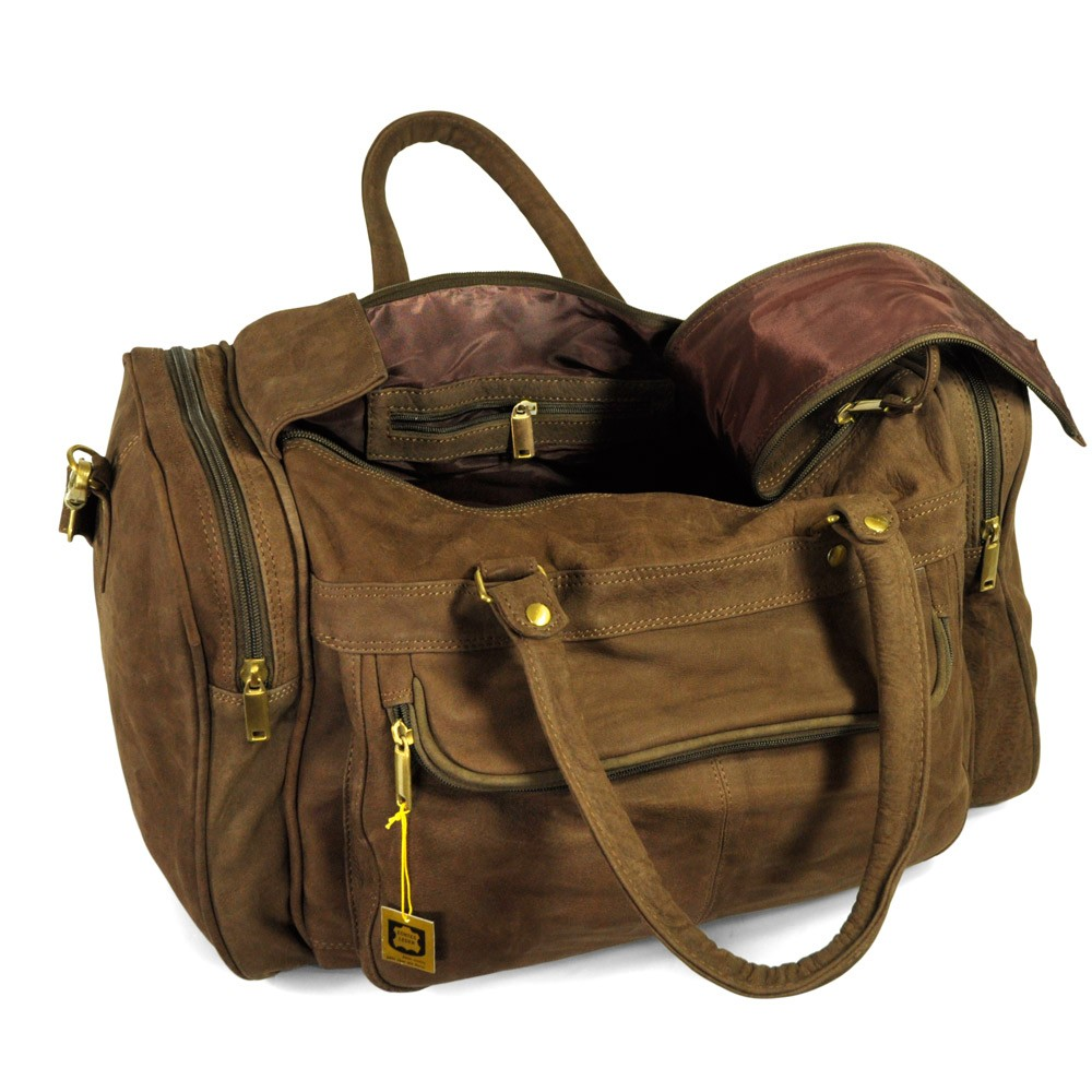 hamosons sac de voyage taille moyenne sac week end en cuir de buffle marron mod le 696. Black Bedroom Furniture Sets. Home Design Ideas