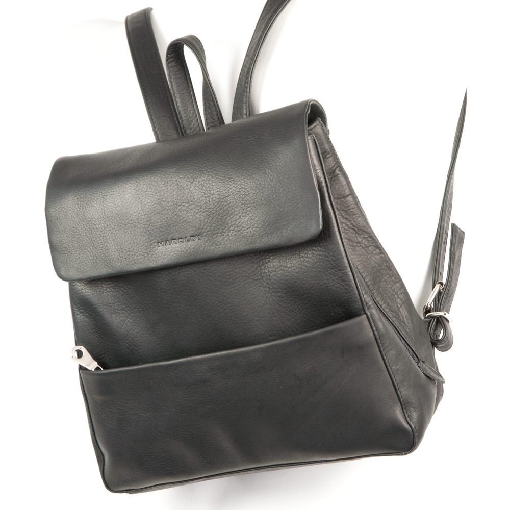 Mittel-Großer Lederrucksack / Rucksack Handtasche aus Leder, Schwarz, Modell 445125