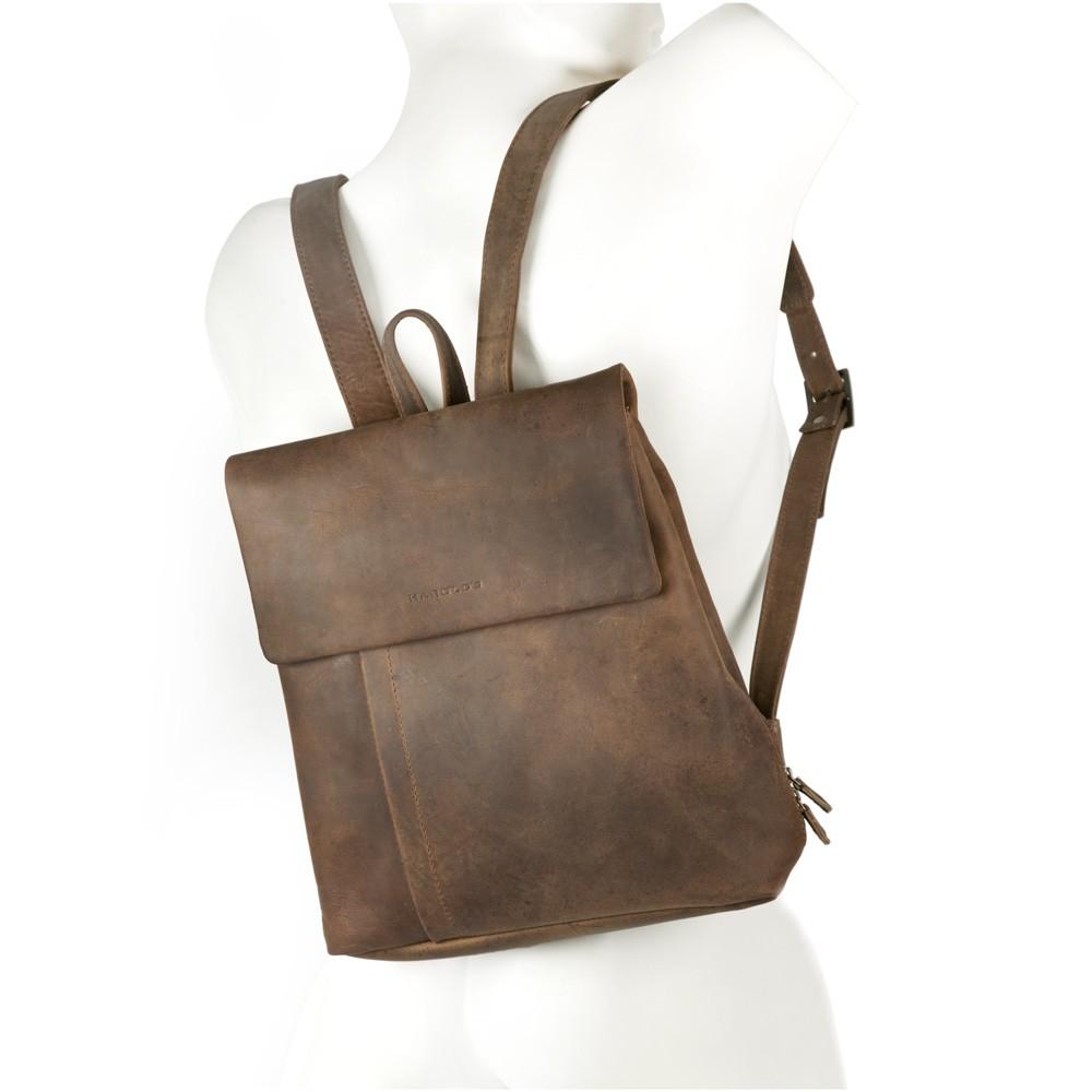 Kleiner Lederrucksack / Rucksack Handtasche aus Leder, Natur-Braun, Modell 418303