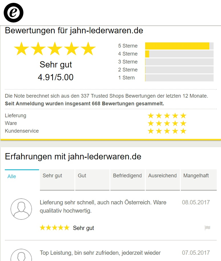 Jahn-Lederaren bei Trusted Shops