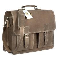 Hamosons Lehrertasche 600 besteht aus einem matten Büffelleder, das geölt und gewachst ist.